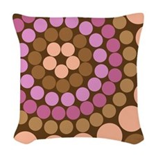 Dots - Brown Woven Throw Pillow