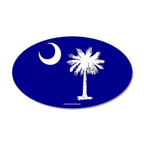 SC Palmetto Moon State Flag Blue 35x21 Oval Wall D
