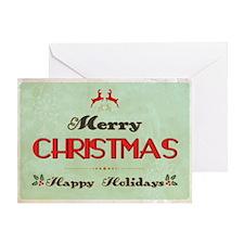 Retro Green Christmas Greeting Card