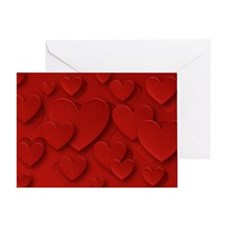 Red Three Dimensional Peeling Hearts Greeting Card