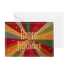 Retro Colorful Sunbeam - Birthday  Greeting Card