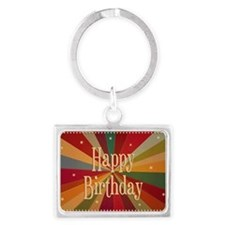 Retro Colorful Sunbeam - Birthd Landscape Keychain