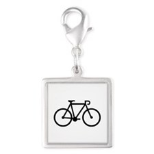 Bicycle bike Silver Square Charm