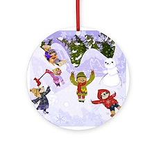 Sloth Snow Day Ornament (Round)