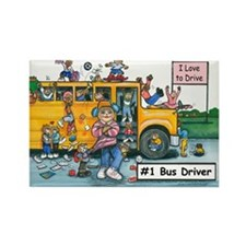 Female Bus Driver Rectangle Magnet (100 pack)