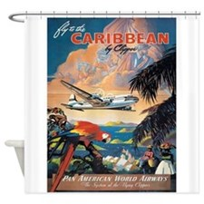 Carribean, Plane, Travel, Vintage Poster Shower Cu