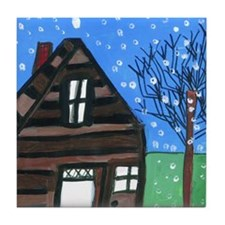 Snowing Night Tile Coaster