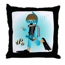 Scuba Boy (brunette) Throw Pillow