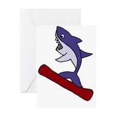 Shark Snowboarding Greeting Card