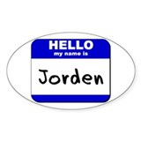 hello my name is jorden Oval Decal