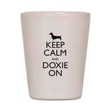 Keep Calm and Doxie On Shot Glass