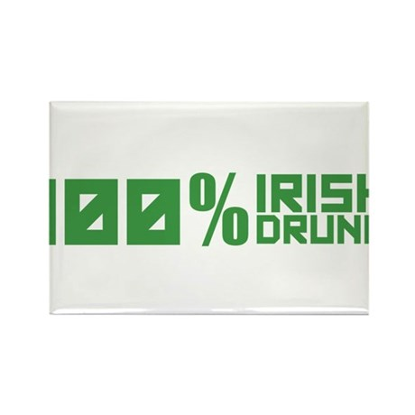 100% Irish 100% Drunk Rectangle Magnet (100 pack)