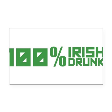 100% Irish 100% Drunk Rectangle Car Magnet