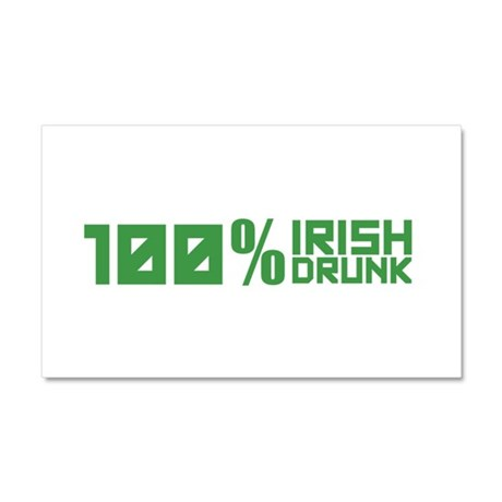 100% Irish 100% Drunk Car Magnet 20 x 12