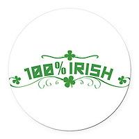 100% Irish Floral Round Car Magnet