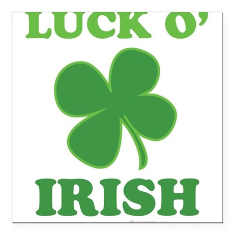 "Luck O' Irish Clover Square Car Magnet 3"" x 3"""