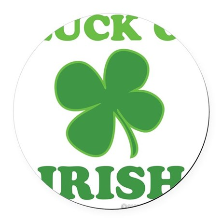 Luck O' Irish Clover Round Car Magnet