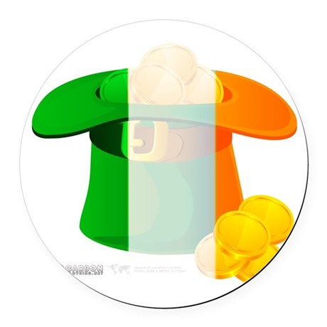 Irish Hat Flag Colors Round Car Magnet