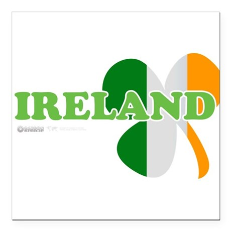 "Ireland Clover Flag Square Car Magnet 3"" x 3"""