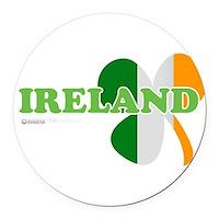 Ireland Clover Flag Round Car Magnet
