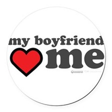 My Boyfriend Loves Me Round Car Magnet