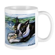 Boston Terrier butterfly Mugs