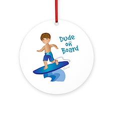 Future Surfer Boy (brunette) Ornament (Round)