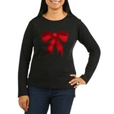 maternity_blackshirt_redbow Long Sleeve T-Shirt