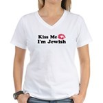 Kiss Me I'm Jewish Women's V-Neck T-Shirt