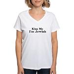 Kiss Me I'm Jewish Women's V-Neck T-Shirt