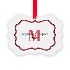 Red Black White Monogram Ornament