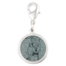 Wallaby Silver Round Charm