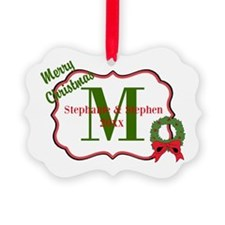 Christmas Wreath Monogram Ornament