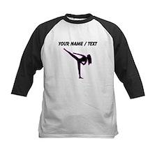 Custom Pink Karate Silhouette Baseball Jersey