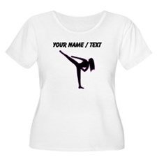 Custom Pink Karate Silhouette Plus Size T-Shirt