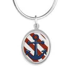 ANCHORS AWEIGH Silver Oval Necklace