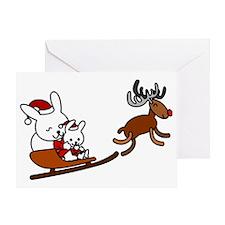 Santa Rabbit Christmast Greeting Card