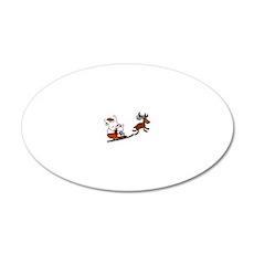 Santa Rabbit Christmast 20x12 Oval Wall Decal