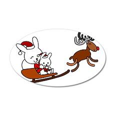 Santa Rabbit Christmast 35x21 Oval Wall Decal