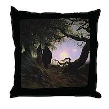 Contemplating the Moon Throw Pillow