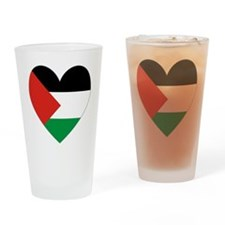 Palestinian Flag Heart Valentine Drinking Glass