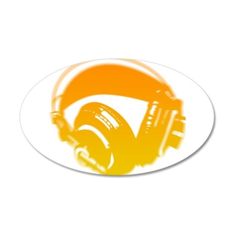 DJ Headphones 35x21 Oval Wall Decal