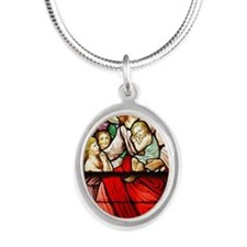 Jesus Blessing the Children Silver Oval Necklace