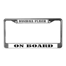 Baseball Player On Board License Plate Frame