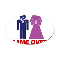 Game Over Marriage Oval Car Magnet