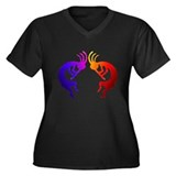 Kokopelli (Fire & Ice) Women's Plus Size V-Neck Da