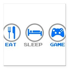 "Eat Sleep Game Square Car Magnet 3"" x 3"""
