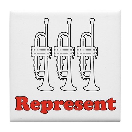 Trumpet &quot;Represent&quot; Tile Coaster