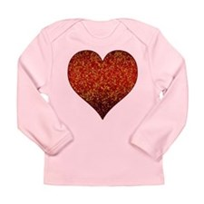 Long Sleeve Infant T-Shirt Glitter 4 Heart Red