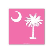 SC Palmetto Moon State Flag Pink Square Sticker 3""